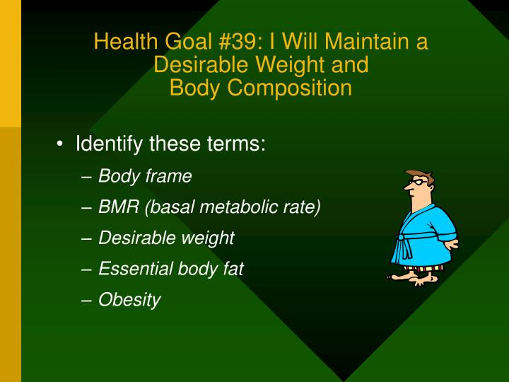 Health Goal #39: I Will Maintain a Desirable Weight and