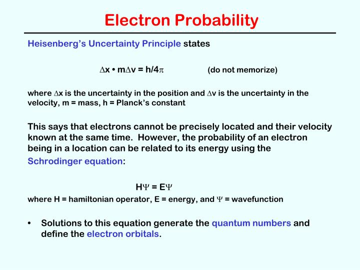 Electron Probability