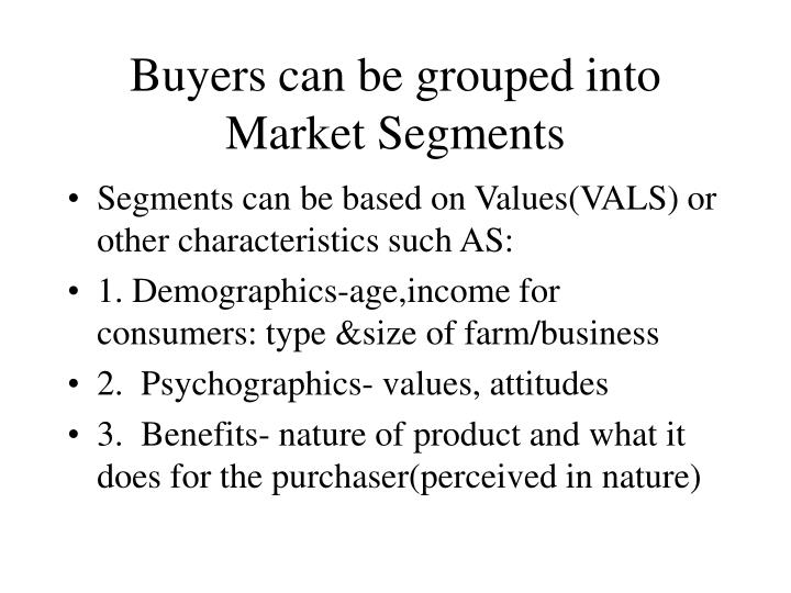 Buyers can be grouped into Market Segments