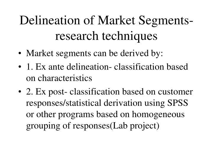 Delineation of Market Segments-research techniques