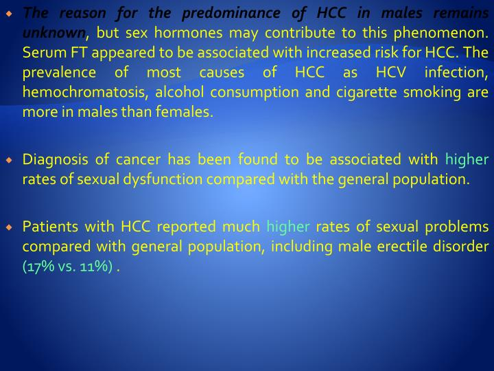 The reason for the predominance of HCC in males remains unknown