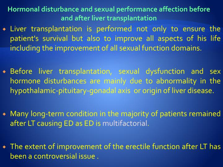 Hormonal disturbance and sexual performance affection before and after liver transplantation