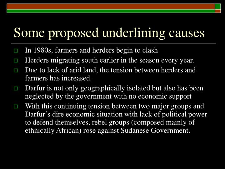 Some proposed underlining causes