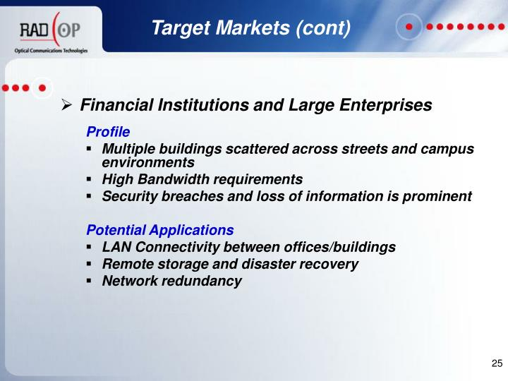 Target Markets (cont)