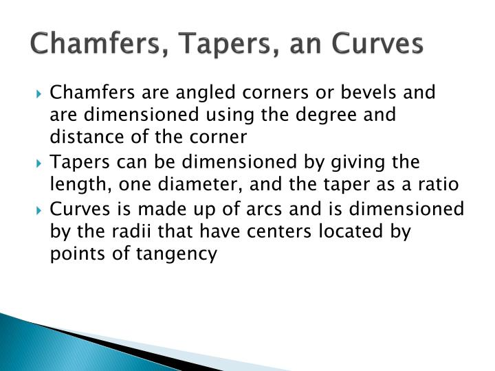 Chamfers, Tapers, an Curves