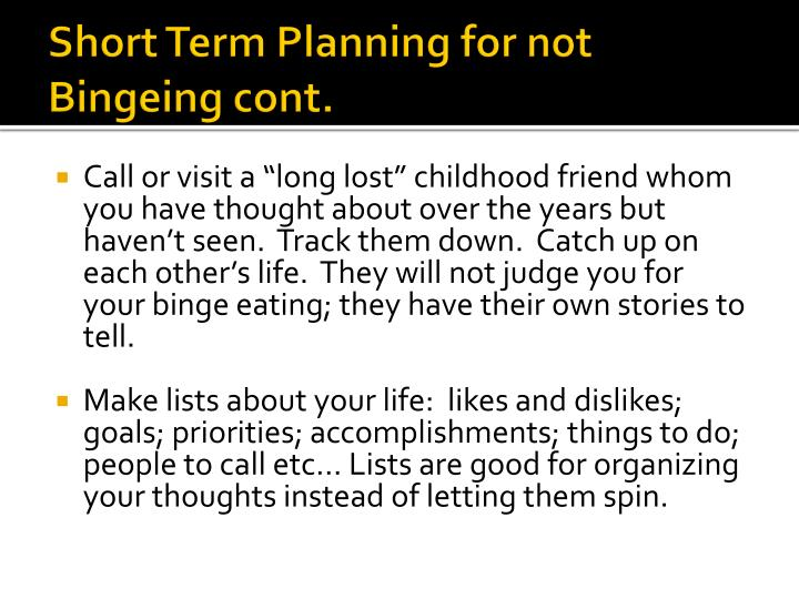 Short Term Planning for not