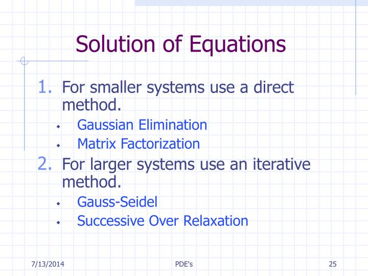 Solution of Equations