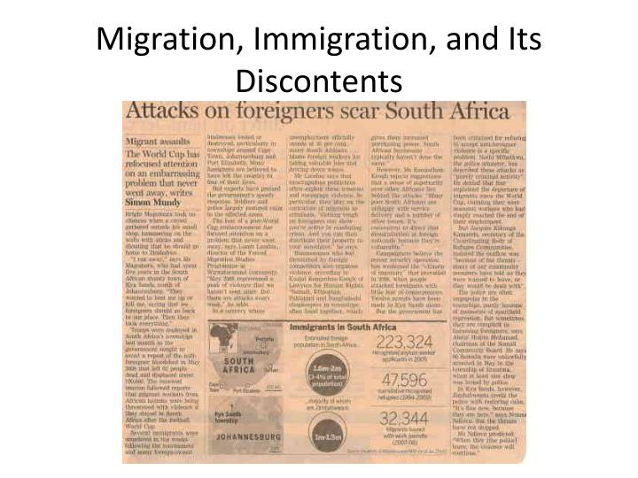 Migration, Immigration, and Its Discontents