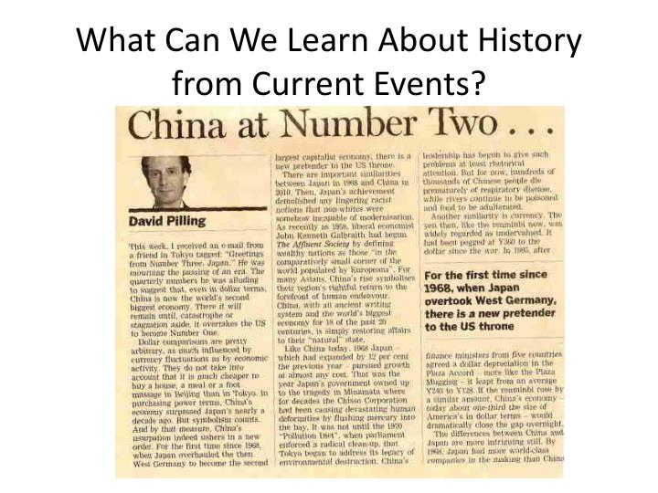 What Can We Learn About History from Current Events?