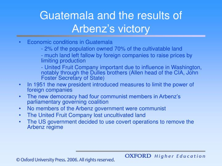 Guatemala and the results of Arbenz's victory