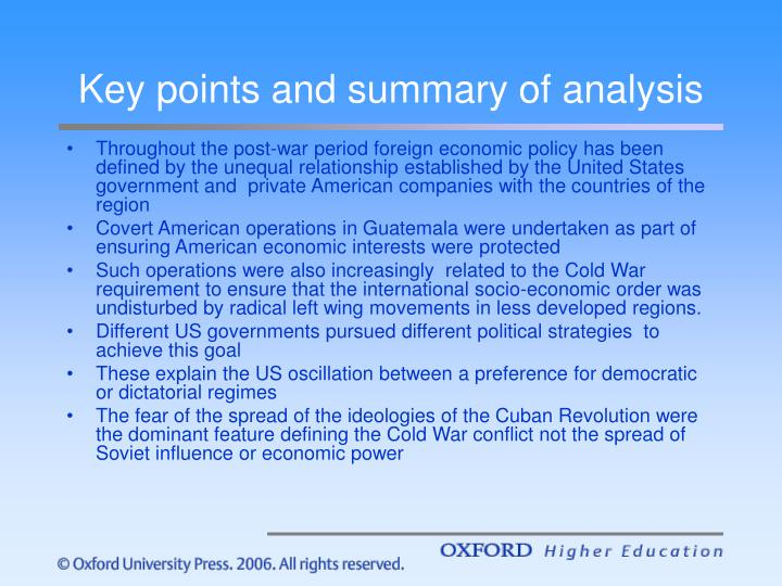 Key points and summary of analysis