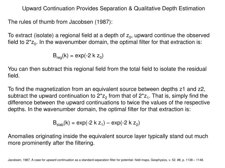 Upward Continuation Provides Separation & Qualitative Depth Estimation