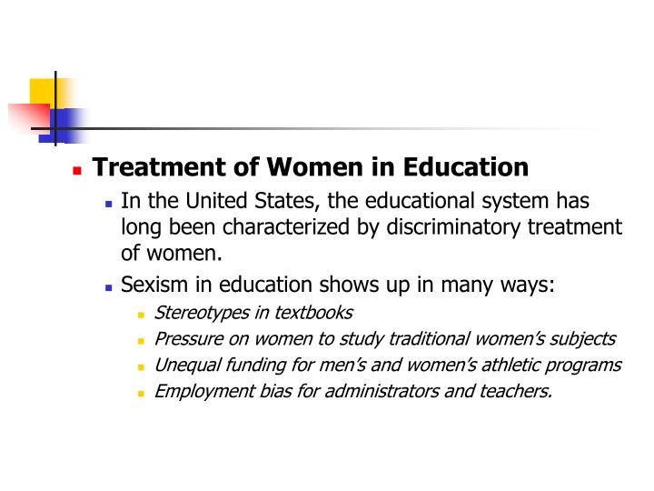 Treatment of Women in Education