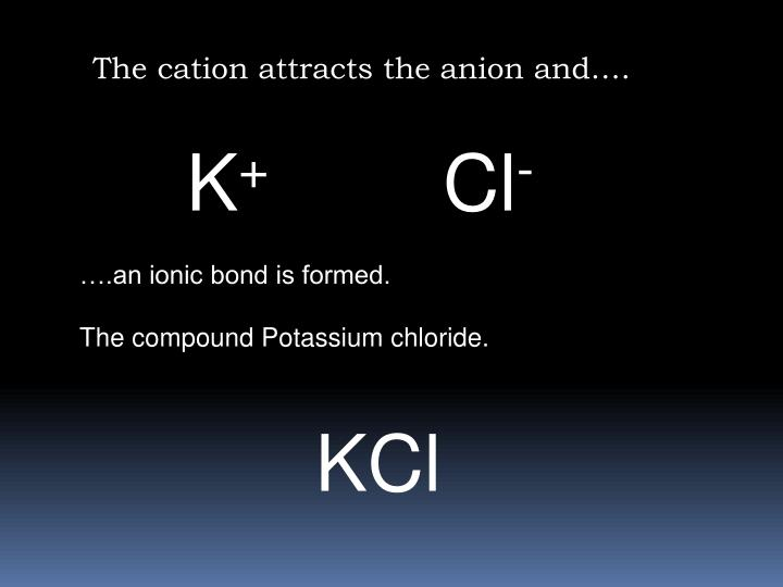 The cation attracts the anion and….