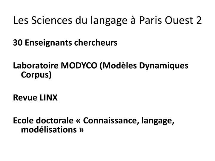 Les Sciences du langage à Paris Ouest 2