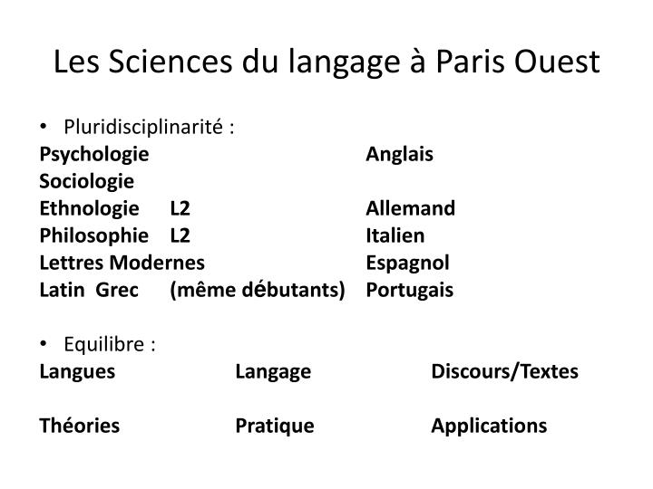 Les Sciences du langage à Paris Ouest