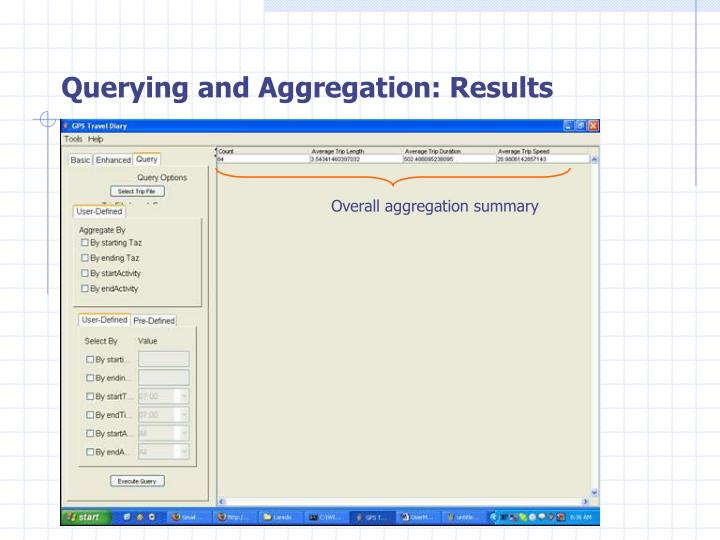 Querying and Aggregation: Results