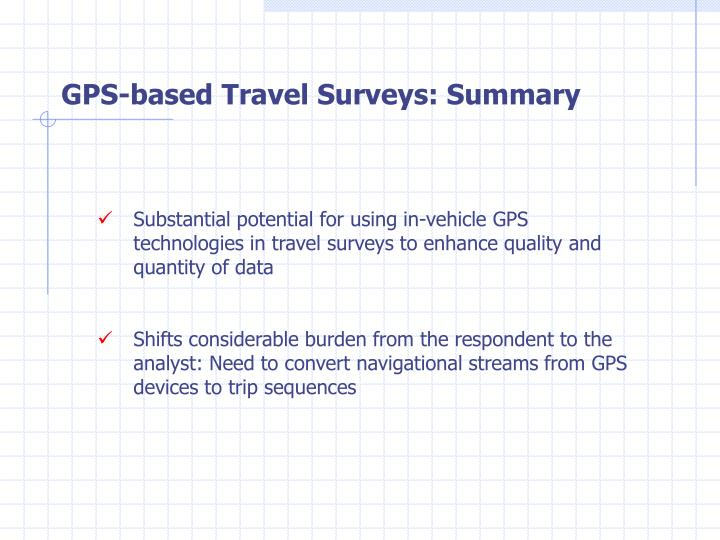 GPS-based Travel Surveys: Summary