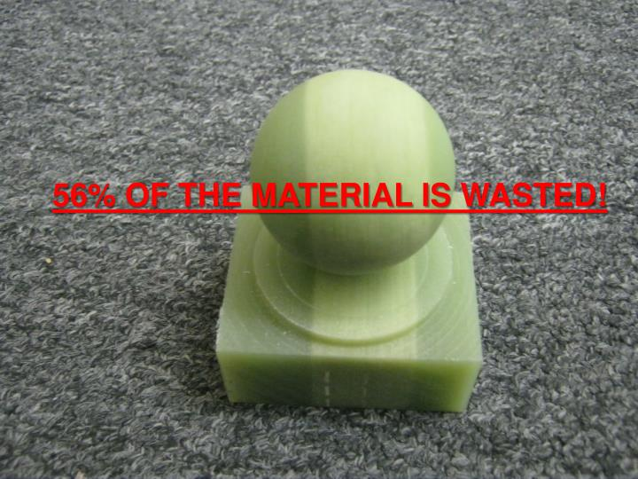 56% OF THE MATERIAL IS WASTED!