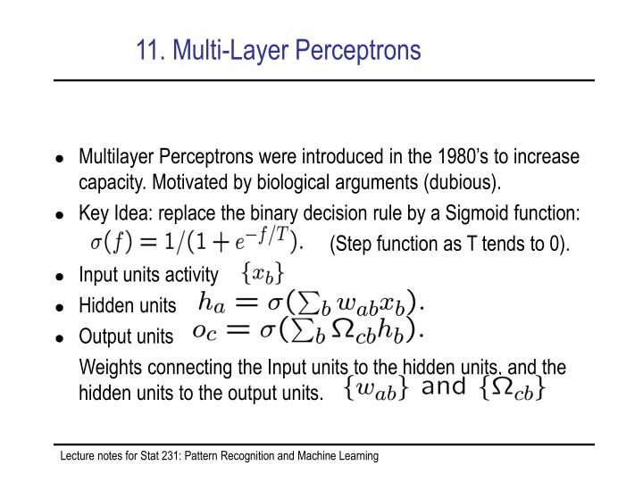 11. Multi-Layer Perceptrons