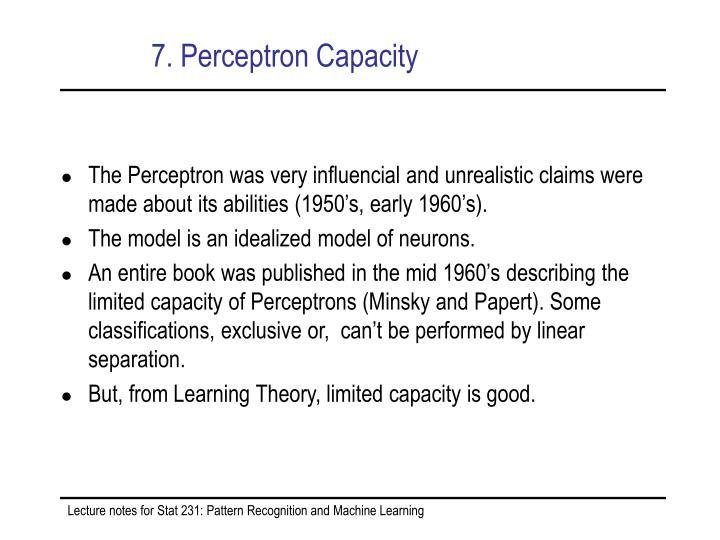 7. Perceptron Capacity