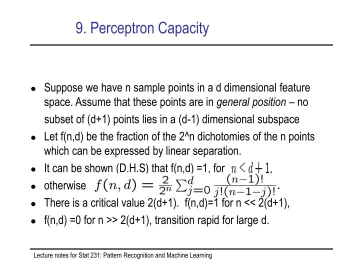9. Perceptron Capacity