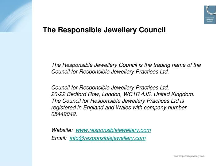 The Responsible Jewellery Council