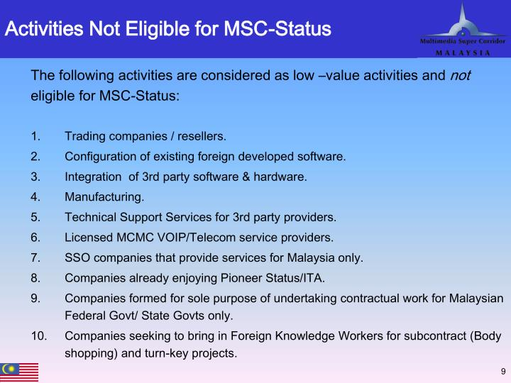 Activities Not Eligible for MSC-Status