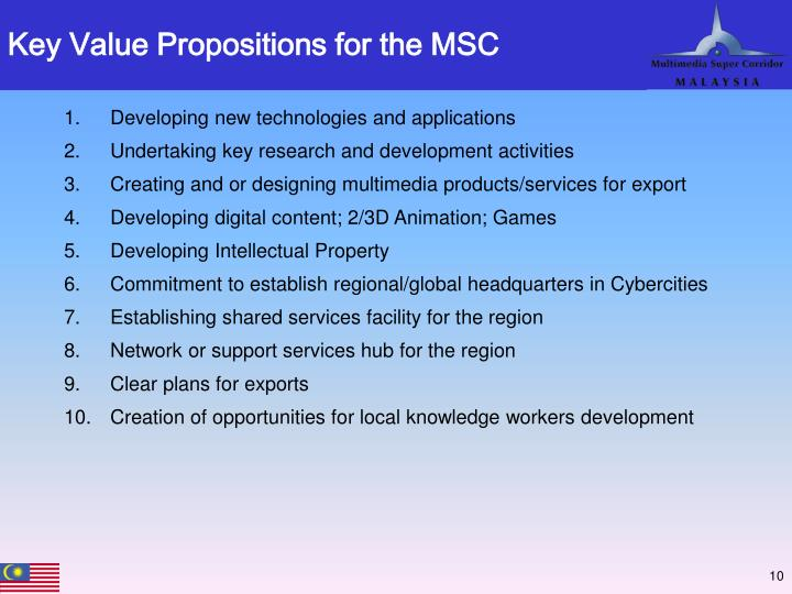 Key Value Propositions for the MSC