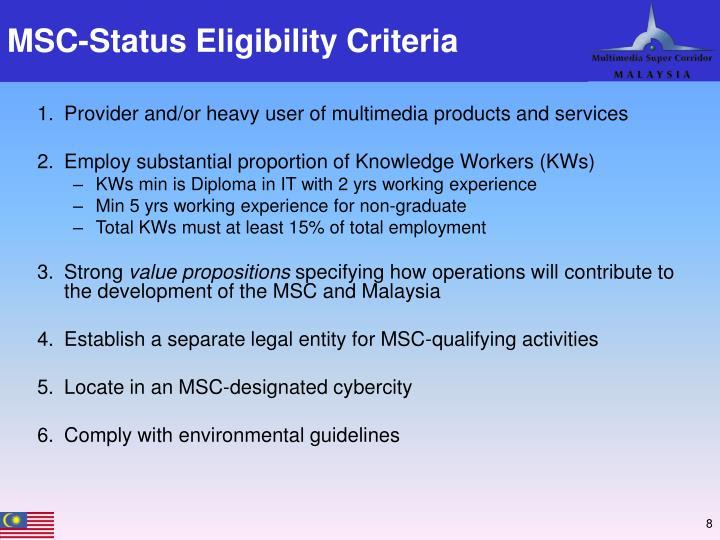 MSC-Status Eligibility Criteria