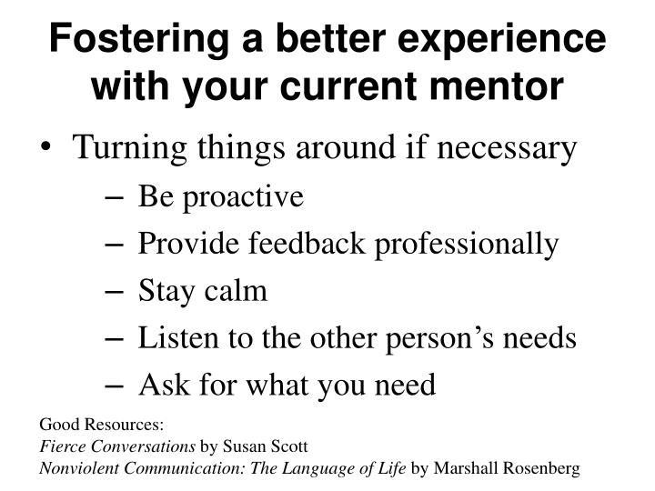 Fostering a better experience with your current mentor
