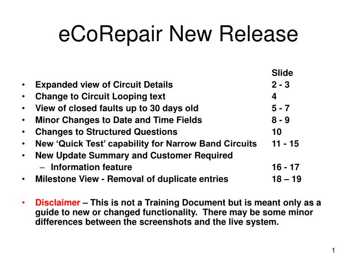 Ecorepair new release