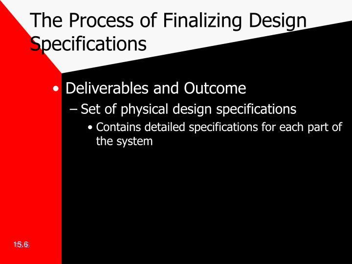 The Process of Finalizing Design Specifications