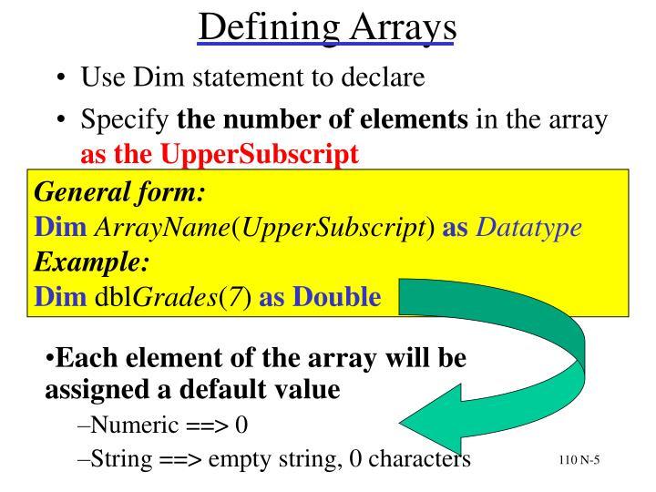 Defining Arrays