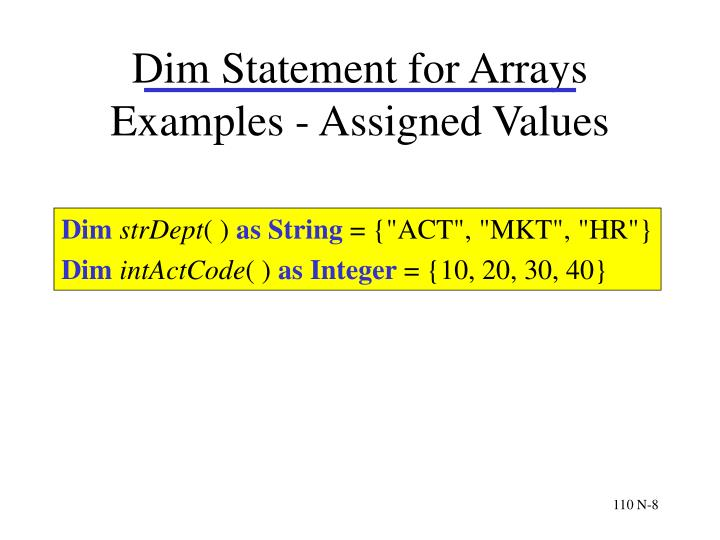 Dim Statement for Arrays Examples - Assigned Values