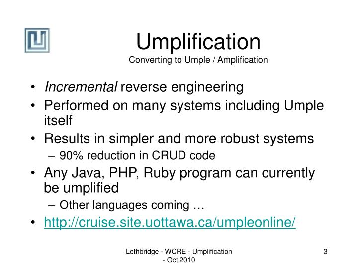 Umplification converting to umple amplification