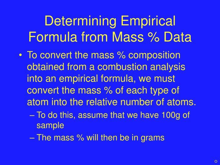 Determining Empirical Formula from Mass % Data