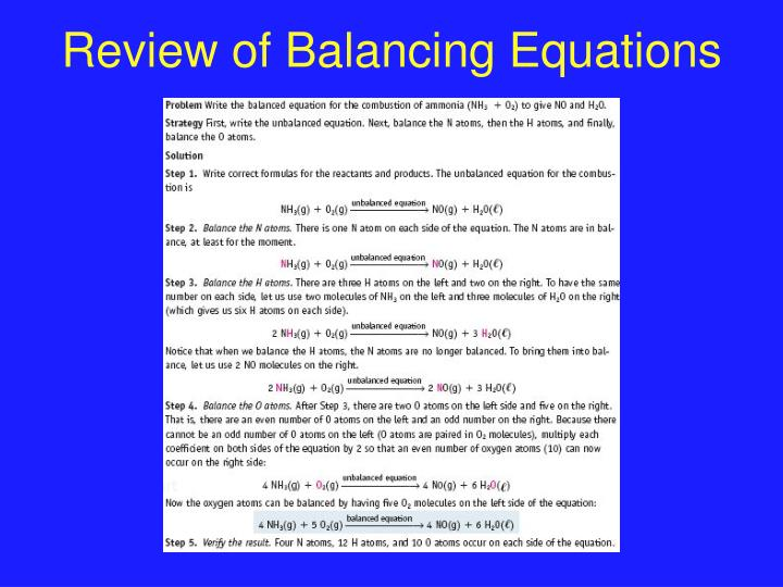Review of Balancing Equations