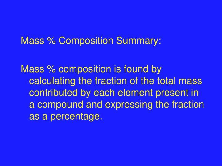 Mass % Composition Summary:
