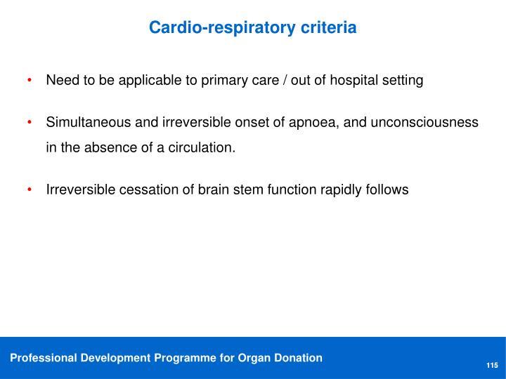 Cardio-respiratory criteria