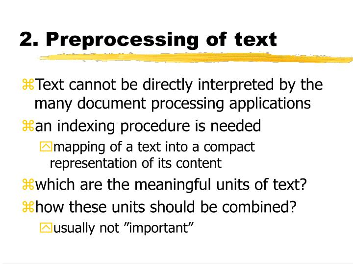 2. Preprocessing of text