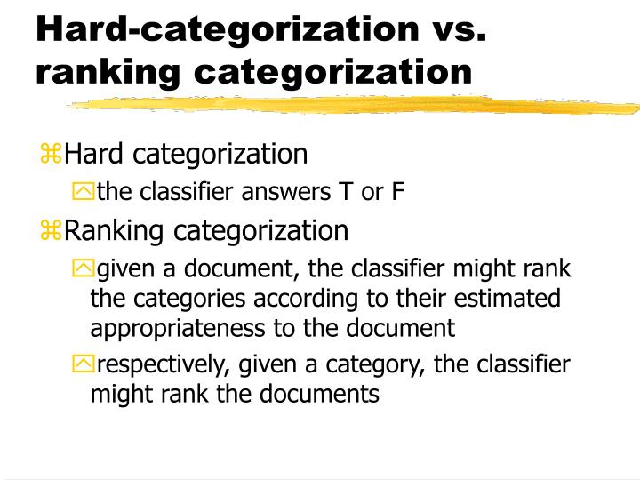 Hard-categorization vs. ranking categorization