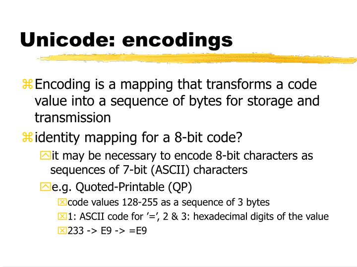Unicode: encodings