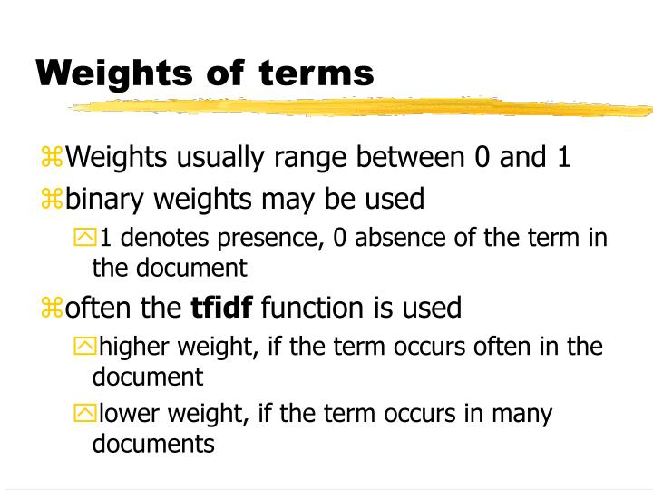Weights of terms