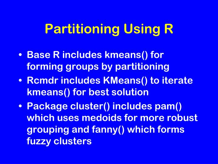 Partitioning Using R