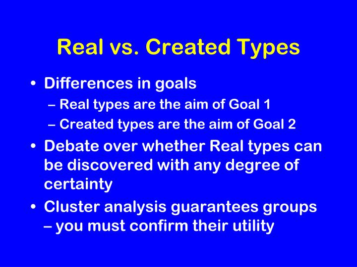 Real vs. Created Types