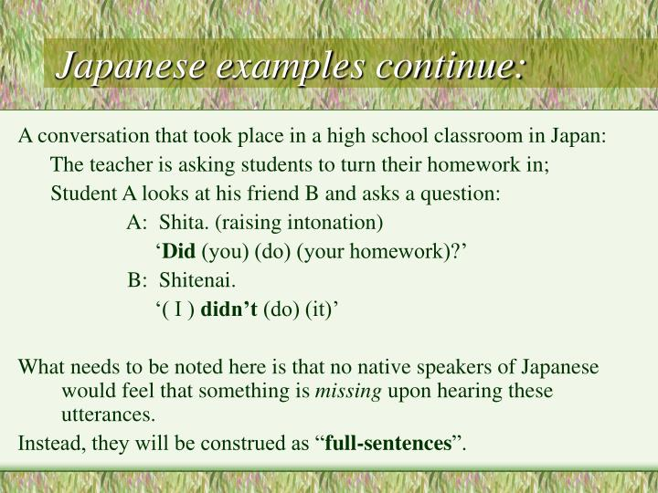 Japanese examples continue: