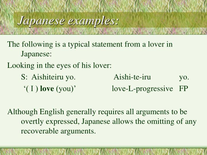 Japanese examples: