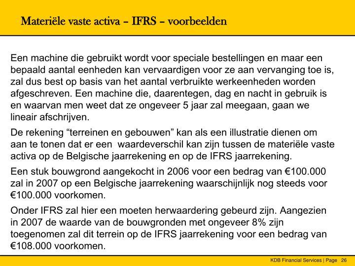 Materiële vaste activa – IFRS – voorbeelden