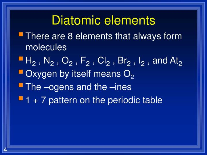 Diatomic elements